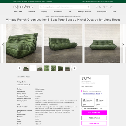 Vintage French Green Leather 3-Seat Togo Sofa by Michel Ducaroy for Ligne Roset
