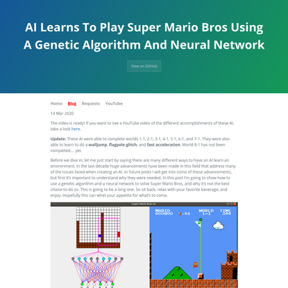AI Learns To Play Super Mario Bros Using A Genetic Algorithm And Neural Network