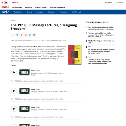 """The 1973 CBC Massey Lectures, """"Designing Freedom""""   CBC Radio"""