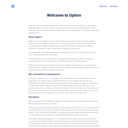Uption.io - Personal Development via Book Mastermind Groups