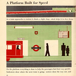 """""""A platform built for speed"""" - illustration from """"Railways under London"""", Isotype book by Marie Neurath, 1948"""