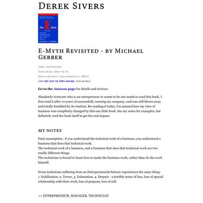 E-Myth Revisited - by Michael Gerber | Derek Sivers