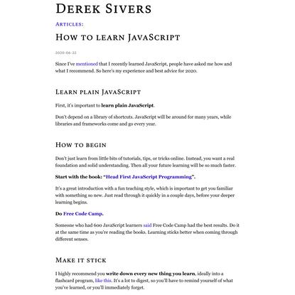 How to learn JavaScript | Derek Sivers