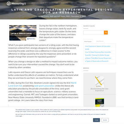 MeasuringU: Latin and Greco-Latin Experimental Designs for UX Research