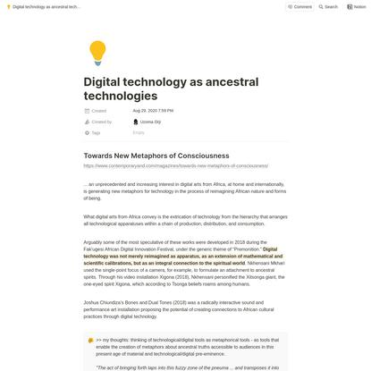 Digital technology as ancestral technologies