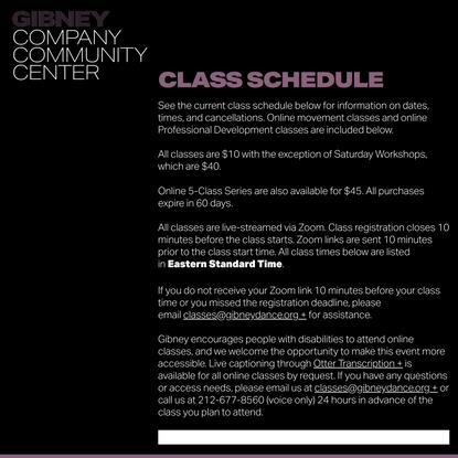 Class Schedule - Gibney