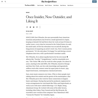 Once Insider, Now Outsider, and Liking It (Published 2009)