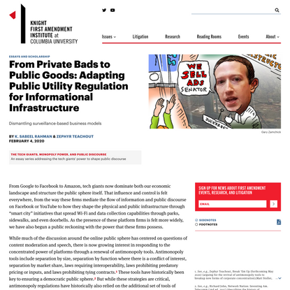 From Private Bads to Public Goods: Adapting Public Utility Regulation for Informational Infrastructure | Knight First Amendment Institute