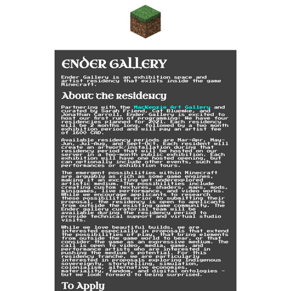 Ender Gallery | Call for Proposals