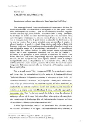 Il museo del terzo millennio - Umberto Eco
