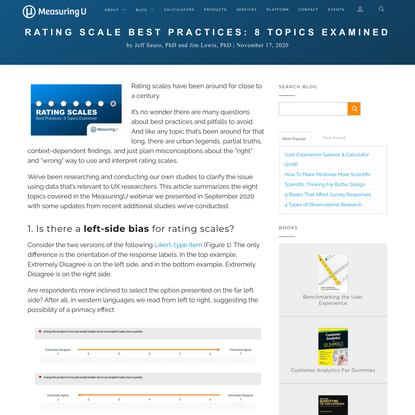 MeasuringU: Rating Scale Best Practices: 8 Topics Examined