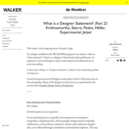 What is a Designer Statement? (Part 2): Krishnamurthy, Ibarra, Pesko, Heller, Experimental Jetset