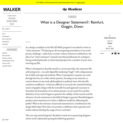 What is a Designer Statement?: Reinfurt, Goggin, Dixon
