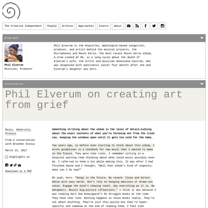 Phil Elverum on Creating Art from Grief
