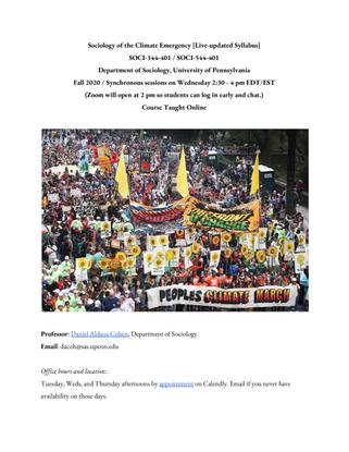 University of Pennsylvania SOCI344/544 Sociology of the Climate Emergency