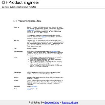 ☼☽ Product Engineer