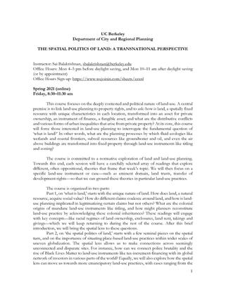 UC Berkeley CYPLAN250 Spatial Politics of Land