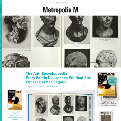 The Anti-Encyclopaedia From Poetic Disorder to Political Anti-Order (and back again) - Features - Metropolis M