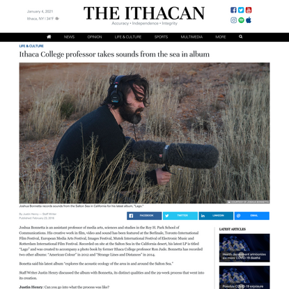 Ithaca College professor takes sounds from the sea in album | The Ithacan