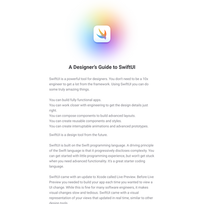 A Designer's Guide to SwiftUI