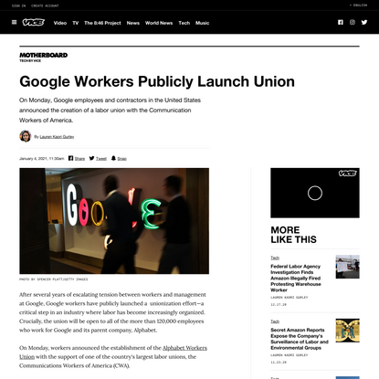 Google Workers Publicly Launch Union - VICE