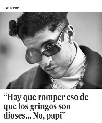 """Boricuas Unidos en la Diáspora on Instagram: """"@badbunnypr está claro: """"Hay que romper eso de que los gringos son dioses... N..."""