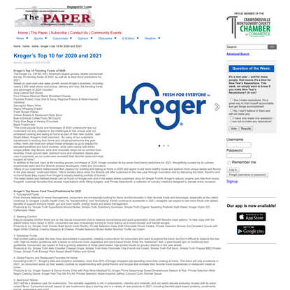 Kroger's Top 10 for 2020 and 2021