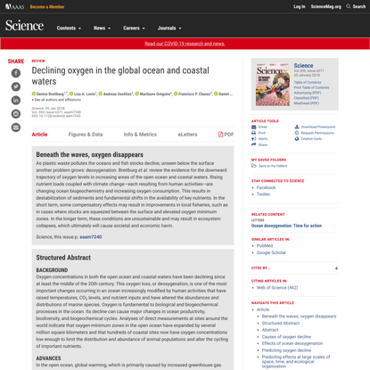 Declining oxygen in the global ocean and coastal waters