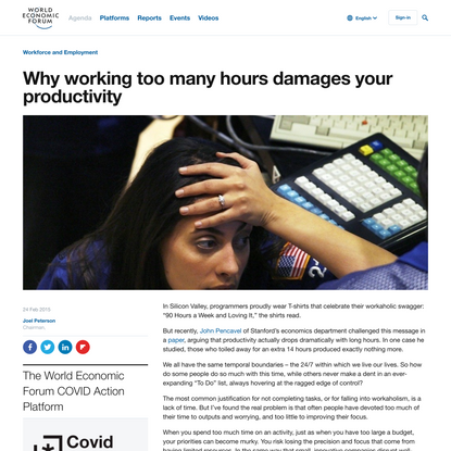 Why working too many hours damages your productivity