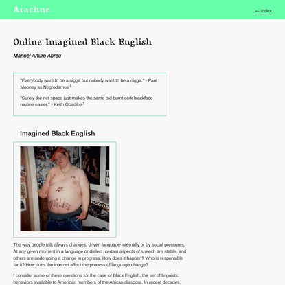 Online Imagined Black English—Manuel Arturo Abreu