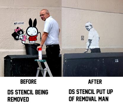 stencil of removal man
