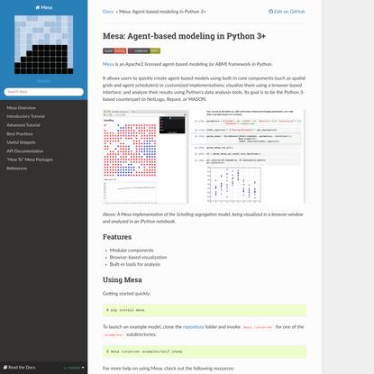 Mesa: Agent-based modeling in Python 3+ — Mesa .1 documentation