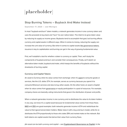 Stop Burning Tokens – Buyback and Make Instead — Placeholder