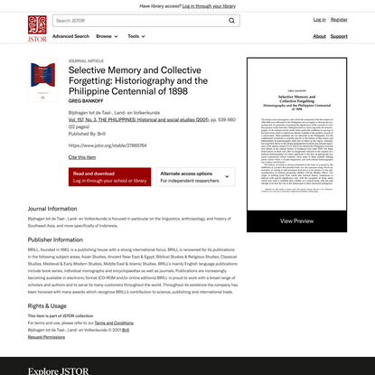 Selective Memory and Collective Forgetting: Historiography and the Philippine Centennial of 1898 on JSTOR