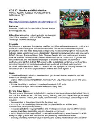 UC San Diego CGS101: Gender and Globalization
