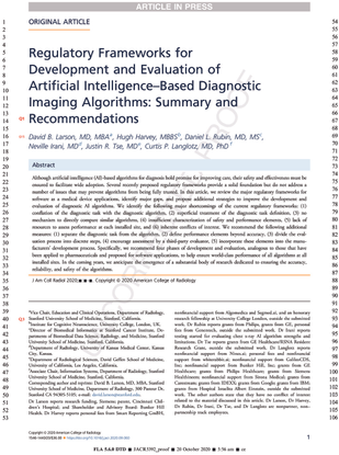 Regulatory Frameworks for Development and Evaluation of Artificial Intelligence–Based Diagnostic Imaging Algorithms: Summary and Recommendations
