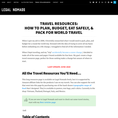 World Travel Resources: How to Plan, Budget, Eat Safely & Pack for Travel