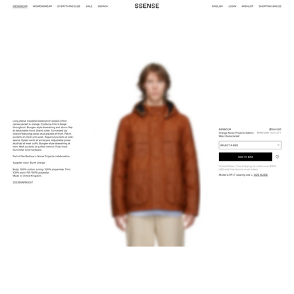 Barbour - Orange Norse Projects Edition Wax Ursula Jacket