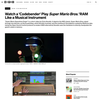 Watch a 'Codebender' Play Super Mario Bros.′ RAM Like a Musical Instrument