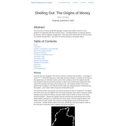 Shelling Out: The Origins of Money   Satoshi Nakamoto Institute