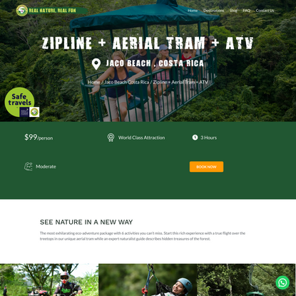 zipline + Aerial Tram + ATV Jaco Beach Costa Rica Package