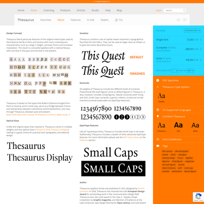 Typotheque: About Thesaurus, a modern editorial typeface inspired by the Renaissance