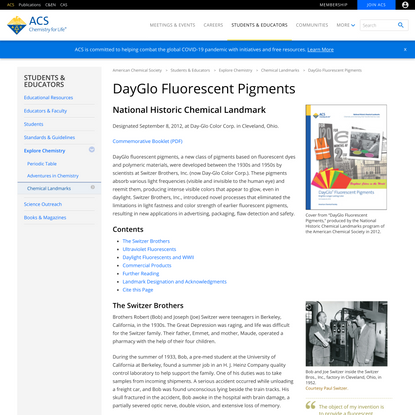 DayGlo Fluorescent Pigments National Historic Chemical Landmark - American Chemical Society
