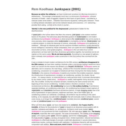 Rem Koolhaas   Junkspace (2001)