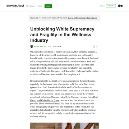 Unblocking White Supremacy and Fragility in the Wellness Industry