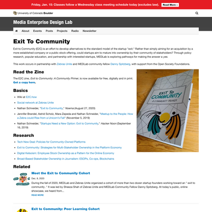 Exit To Community | Media Enterprise Design Lab | University of Colorado Boulder
