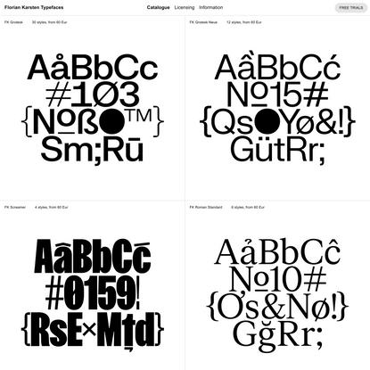 Catalogue | Florian Karsten Typefaces