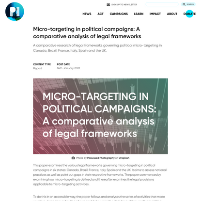 Micro-targeting in political campaigns: A comparative analysis of legal frameworks