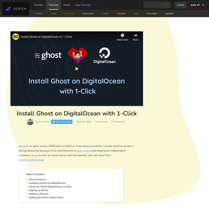 Install Ghost on DigitalOcean with 1-Click