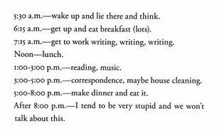 Ursula K. Le Guin's Daily Routine